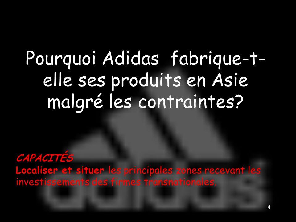 Pourquoi Adidas fabrique-t-elle ses produits en Asie malgré les contraintes