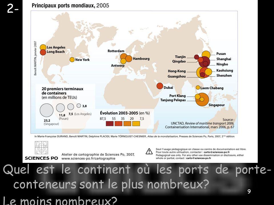 2- Quel est le continent où les ports de porte-conteneurs sont le plus nombreux Le moins nombreux