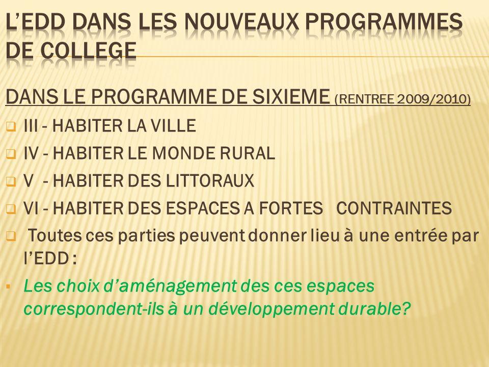 L'EDD DANS LES NOUVEAUX PROGRAMMES DE COLLEGE