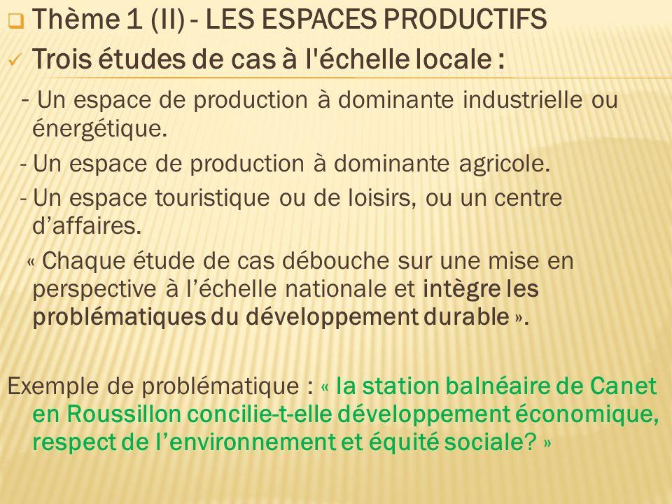 Thème 1 (II) - LES ESPACES PRODUCTIFS