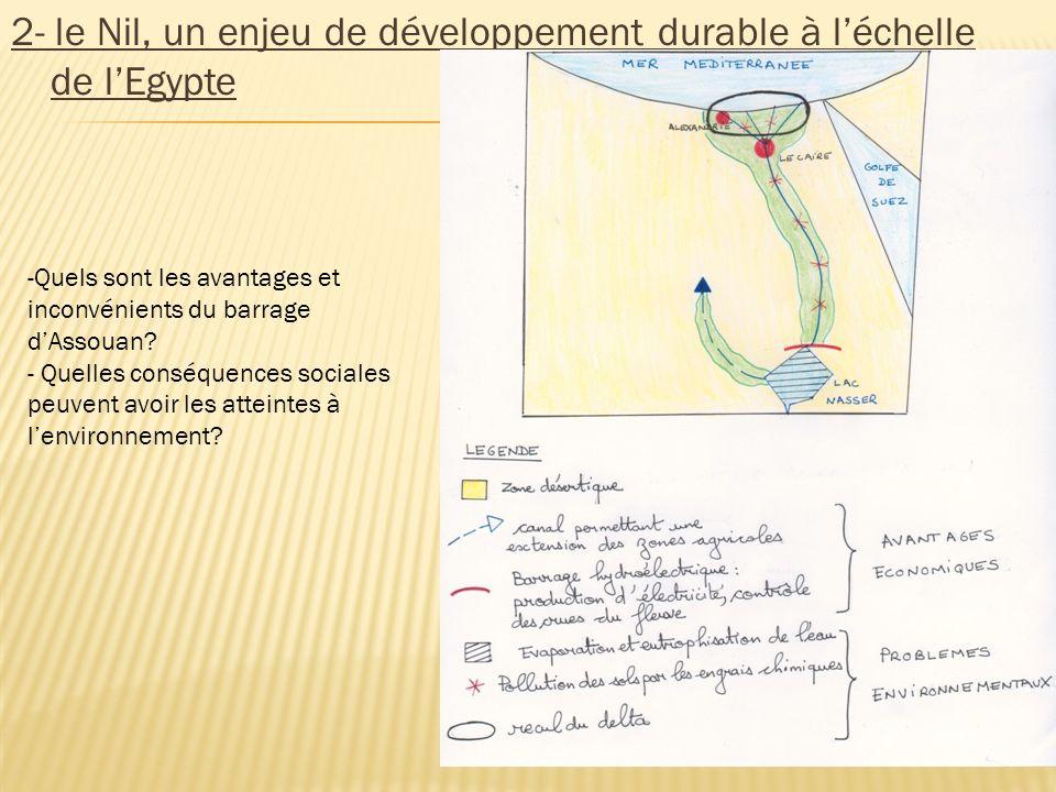 2- le Nil, un enjeu de développement durable à l'échelle de l'Egypte