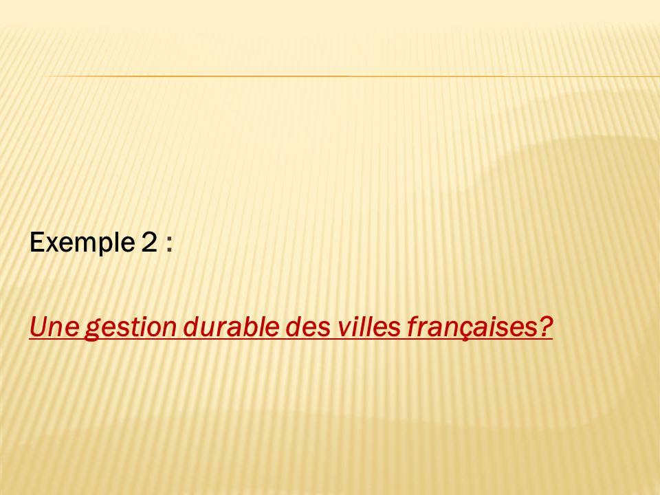 Exemple 2 : Une gestion durable des villes françaises