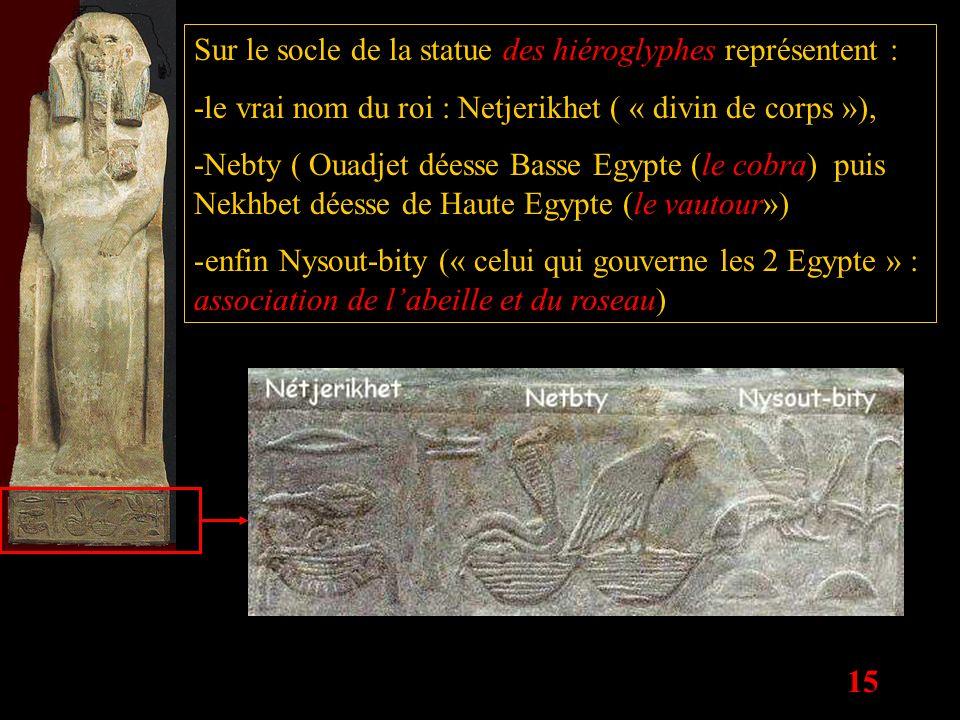 Sur le socle de la statue des hiéroglyphes représentent :