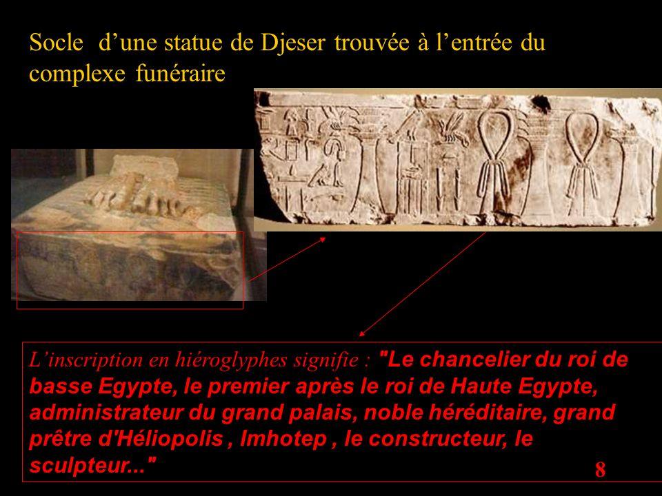 Socle d'une statue de Djeser trouvée à l'entrée du complexe funéraire