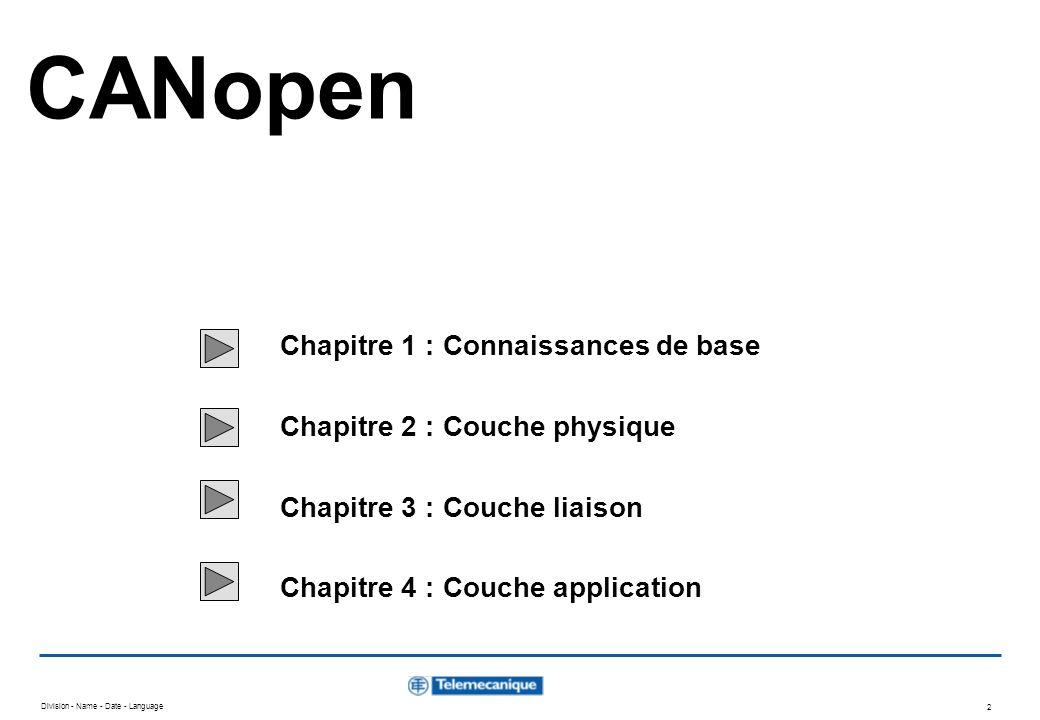 CANopen Chapitre 1 : Connaissances de base