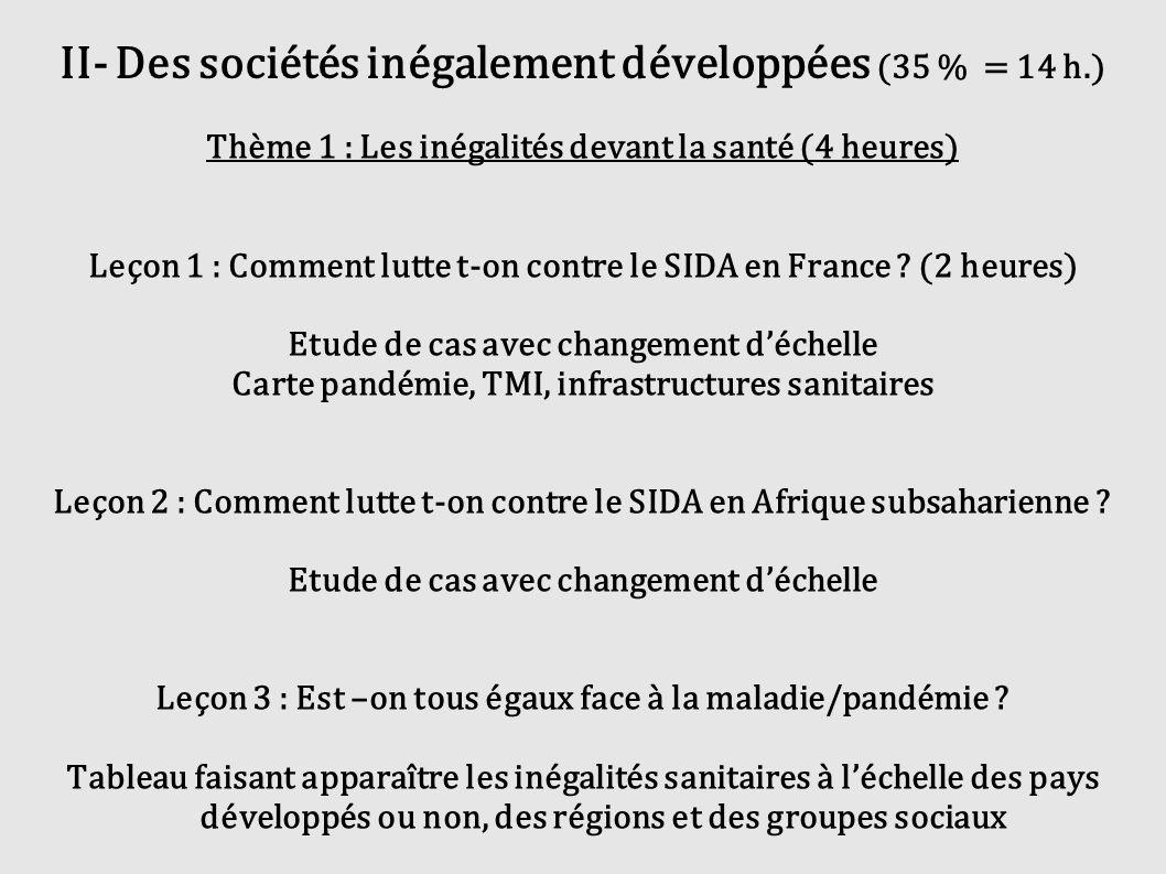 II- Des sociétés inégalement développées (35 % = 14 h.)