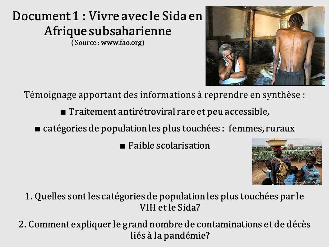 Document 1 : Vivre avec le Sida en Afrique subsaharienne (Source : www