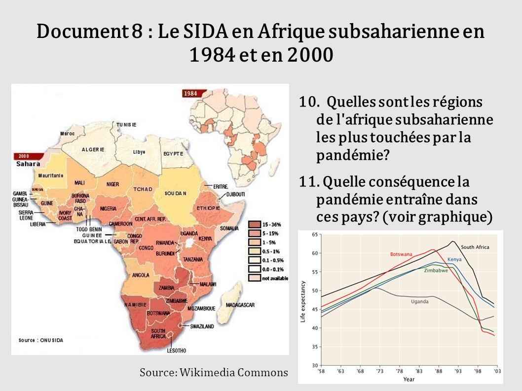 Document 8 : Le SIDA en Afrique subsaharienne en 1984 et en 2000