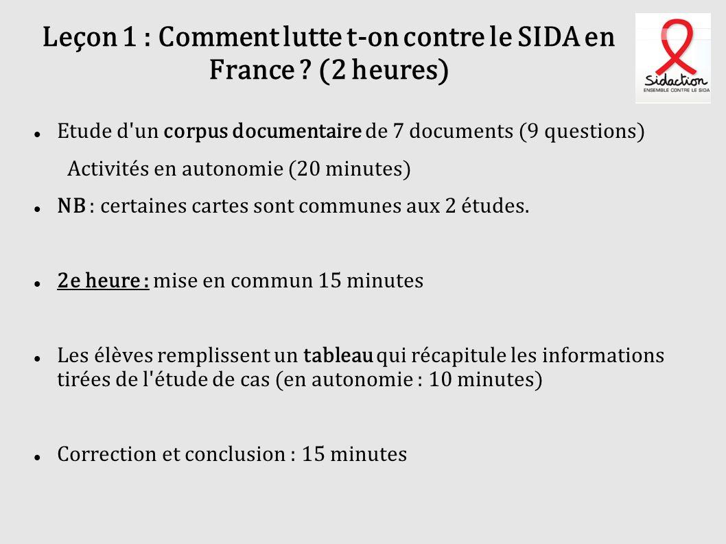 Leçon 1 : Comment lutte t-on contre le SIDA en France (2 heures)