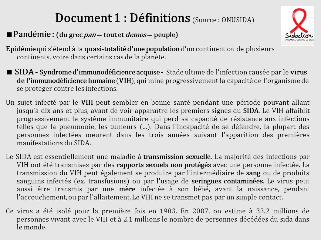 Document 1 : Définitions (Source : ONUSIDA)