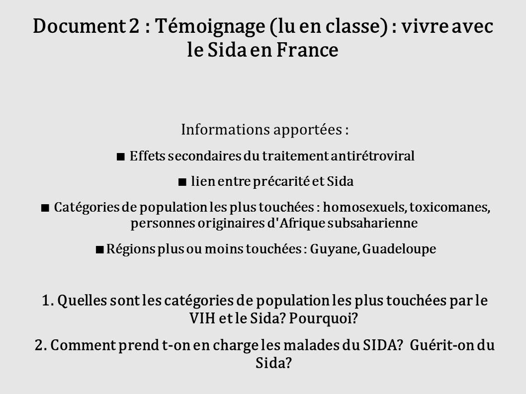 Document 2 : Témoignage (lu en classe) : vivre avec le Sida en France