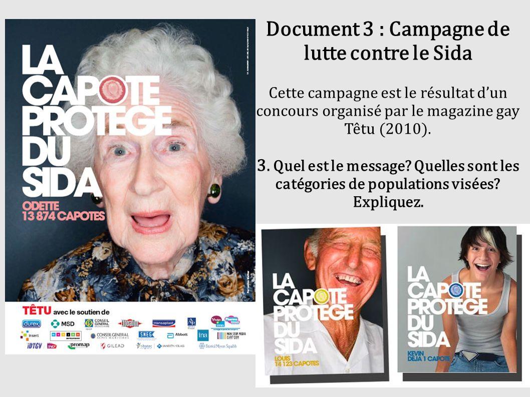 Document 3 : Campagne de lutte contre le Sida Cette campagne est le résultat d'un concours organisé par le magazine gay Têtu (2010).