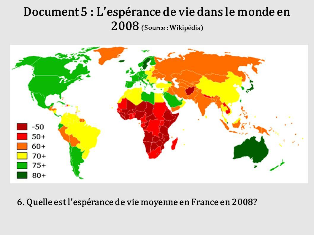 Document 5 : L espérance de vie dans le monde en 2008 (Source : Wikipédia)