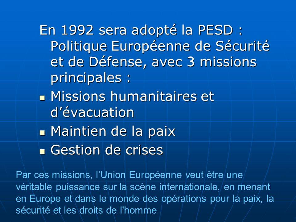 Missions humanitaires et d'évacuation Maintien de la paix
