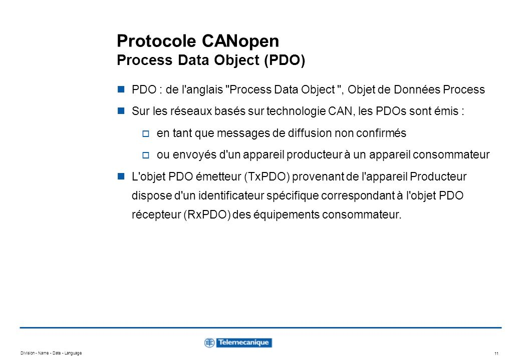 Protocole CANopen Process Data Object (PDO)