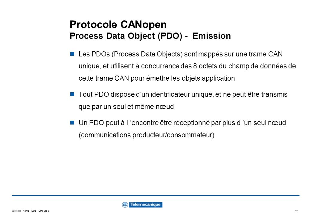 Protocole CANopen Process Data Object (PDO) - Emission
