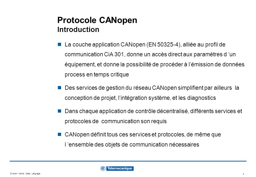 Protocole CANopen Introduction
