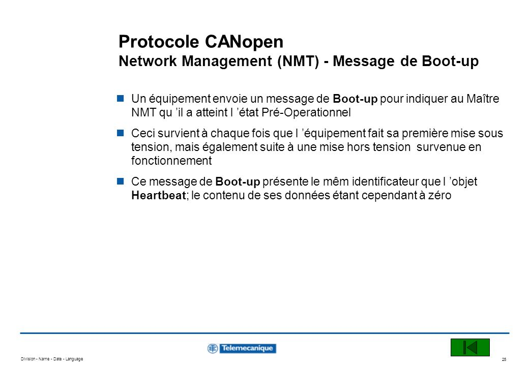 Protocole CANopen Network Management (NMT) - Message de Boot-up