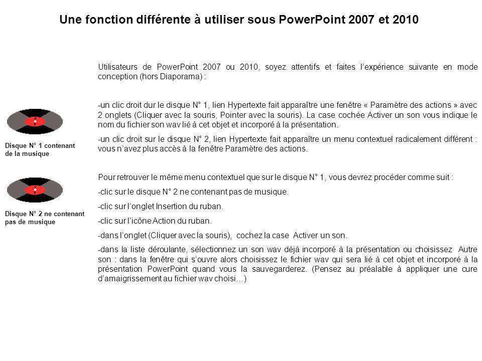 Une fonction différente à utiliser sous PowerPoint 2007 et 2010
