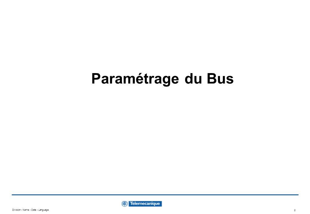 Paramétrage du Bus