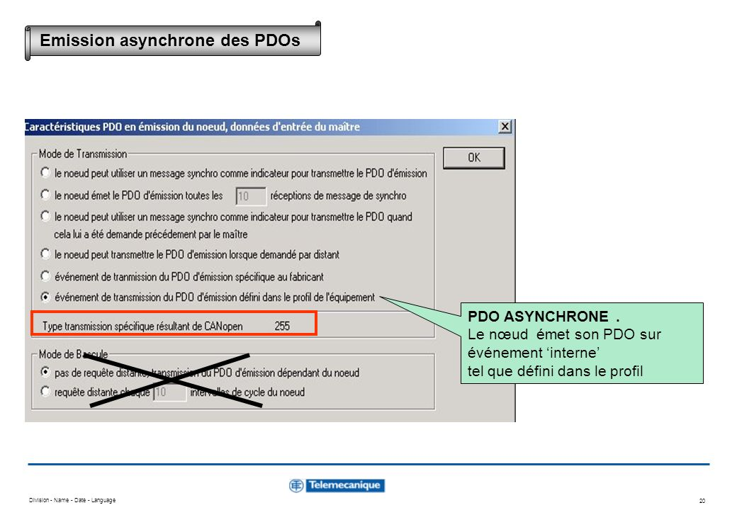 Emission asynchrone des PDOs