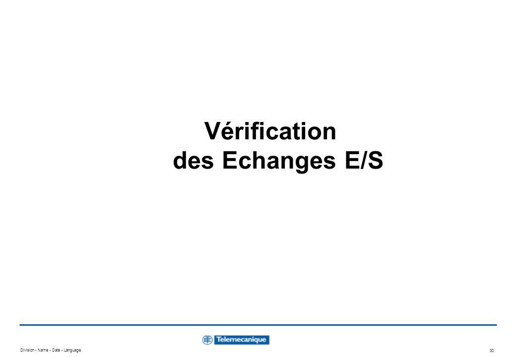 Vérification des Echanges E/S