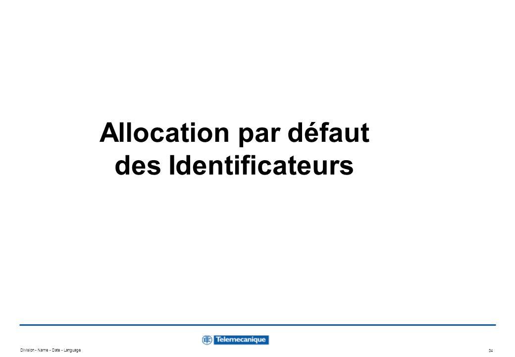Allocation par défaut des Identificateurs
