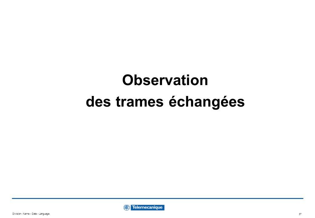 Observation des trames échangées
