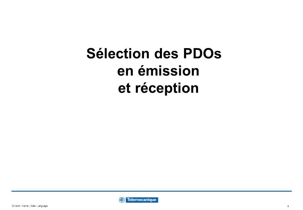 Sélection des PDOs en émission et réception