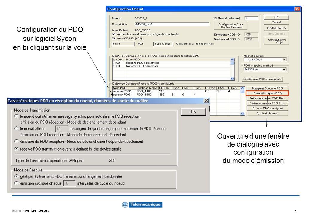 Configuration du PDO sur logiciel Sycon en bi cliquant sur la voie