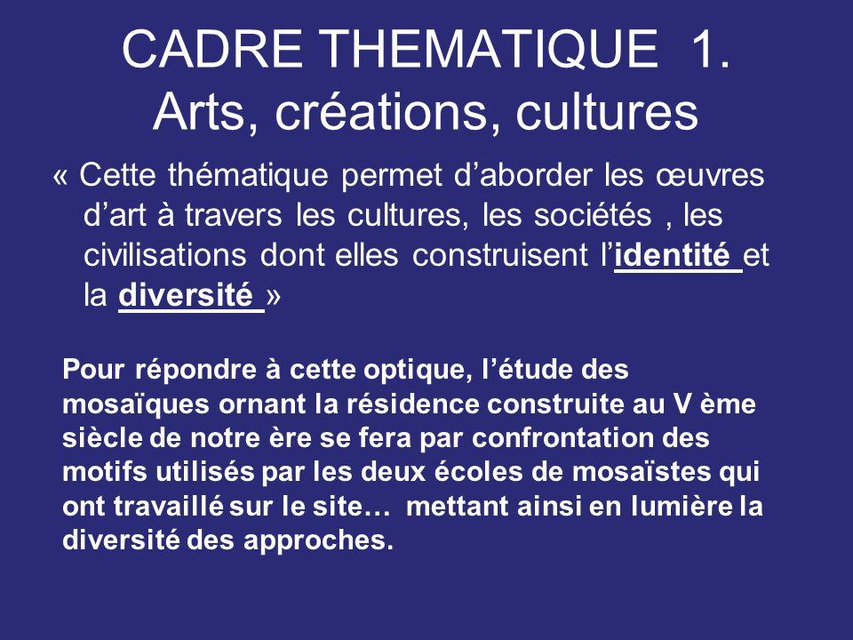 CADRE THEMATIQUE 1. Arts, créations, cultures
