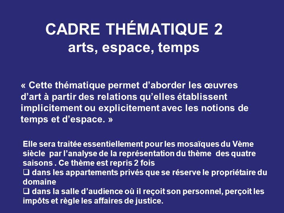 cadre thématique 2 arts, espace, temps