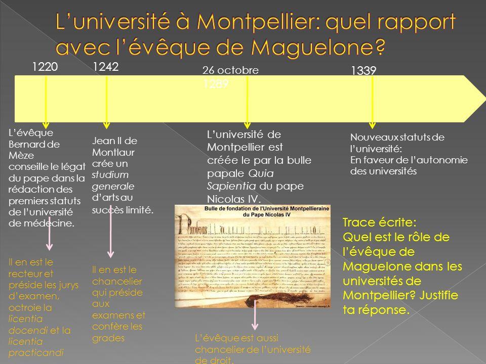 L'université à Montpellier: quel rapport avec l'évêque de Maguelone