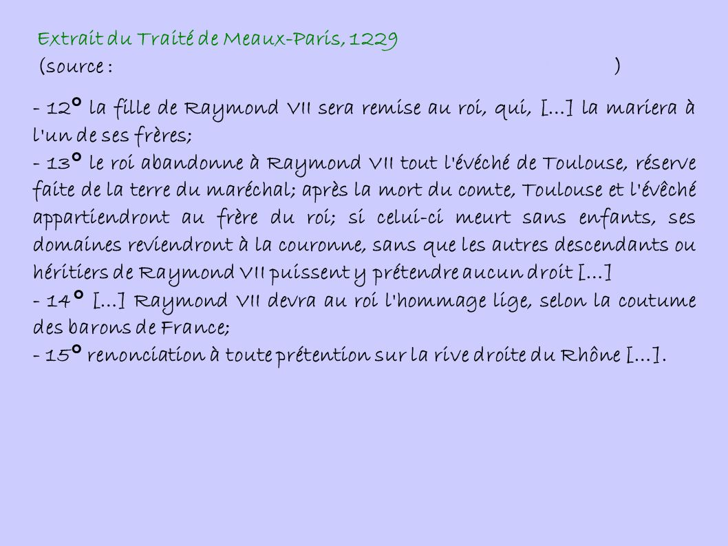 Extrait du Traité de Meaux-Paris, 1229