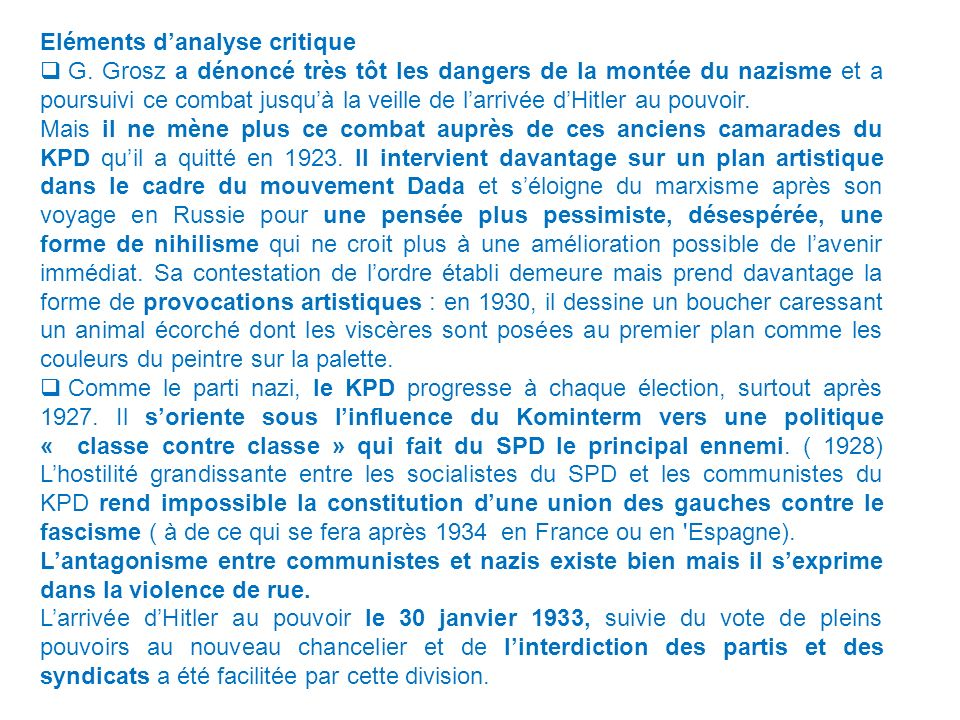 Eléments d'analyse critique