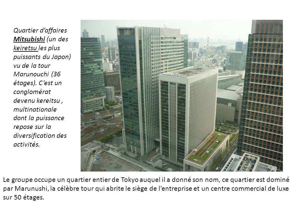 Quartier d'affaires Mitsubishi (un des keiretsu les plus puissants du Japon) vu de la tour Marunouchi (36 étages). C'est un conglomérat devenu kereitsu , multinationale dont la puissance repose sur la diversification des activités.