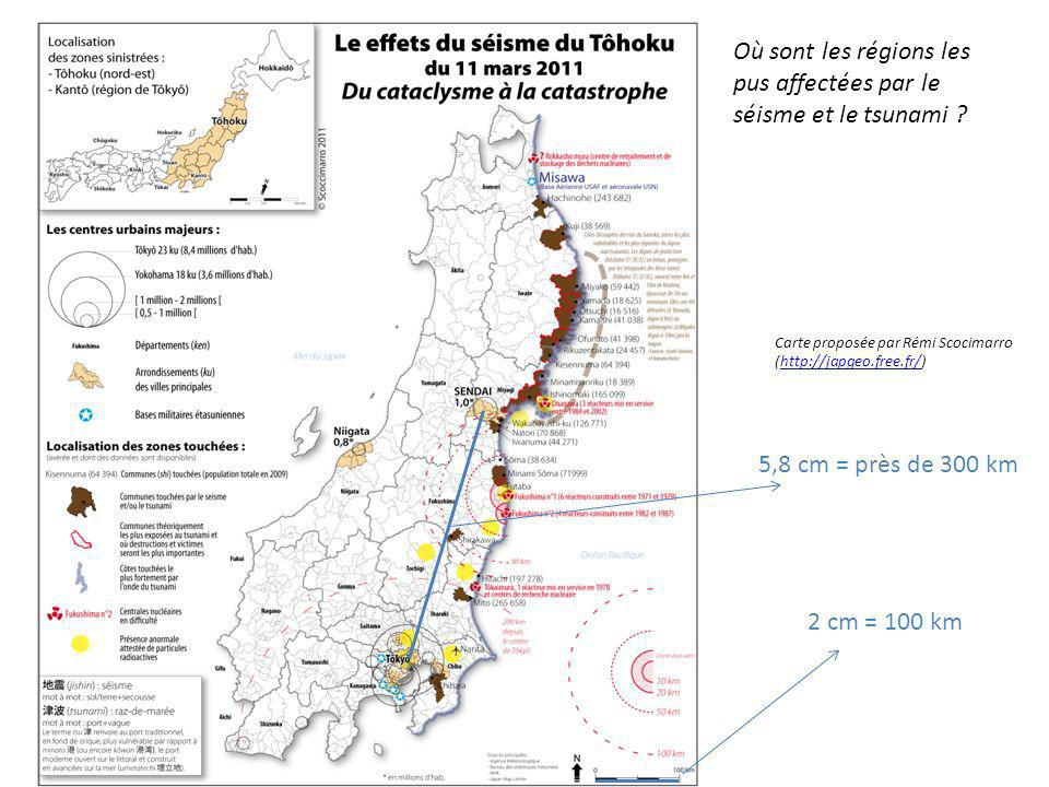 Où sont les régions les pus affectées par le séisme et le tsunami