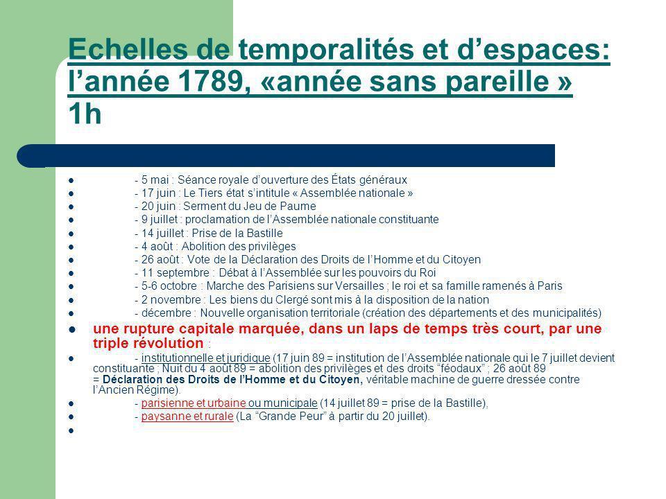 Echelles de temporalités et d'espaces: l'année 1789, «année sans pareille » 1h