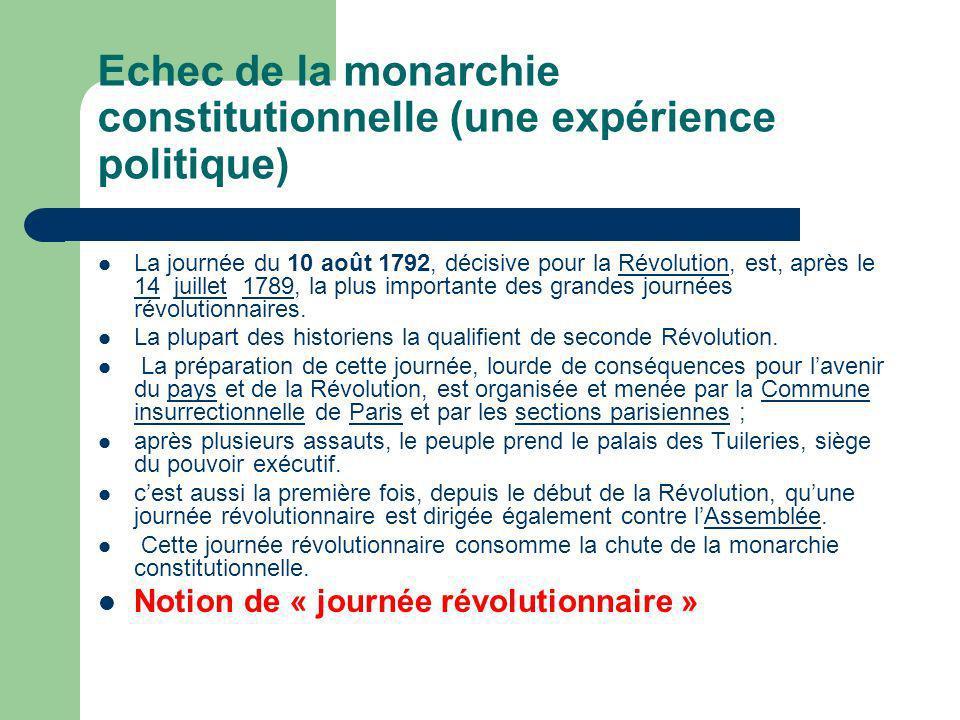 Echec de la monarchie constitutionnelle (une expérience politique)