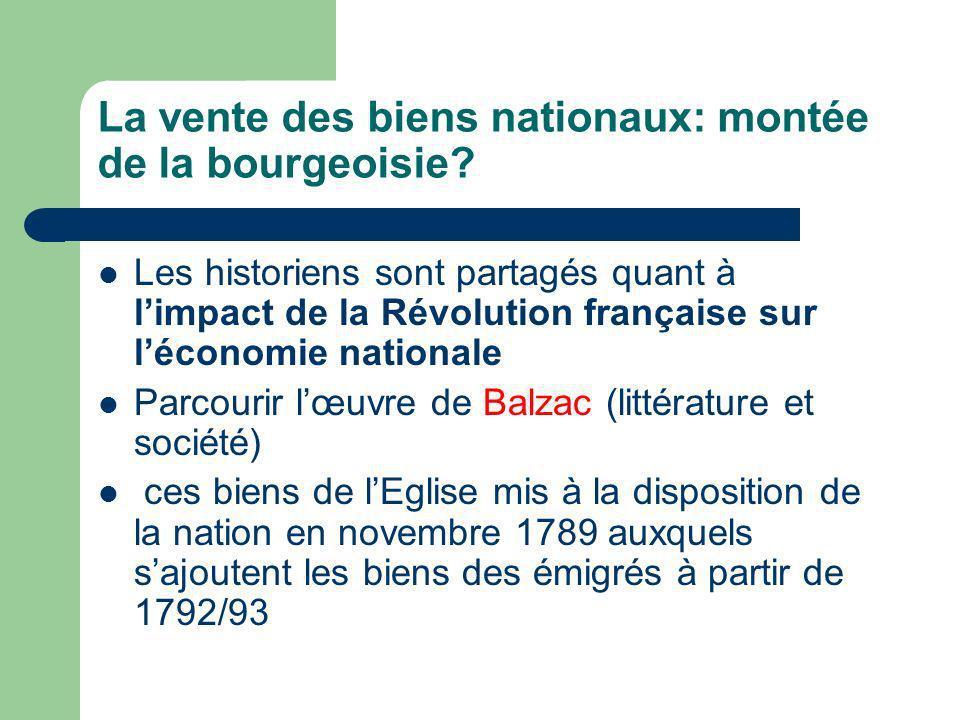 La vente des biens nationaux: montée de la bourgeoisie
