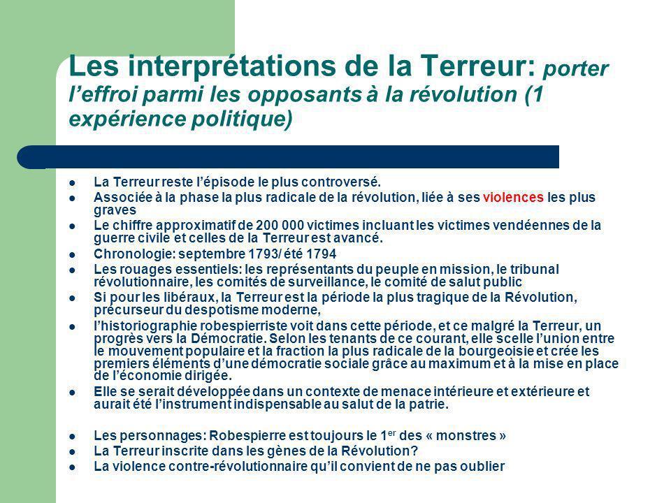 Les interprétations de la Terreur: porter l'effroi parmi les opposants à la révolution (1 expérience politique)