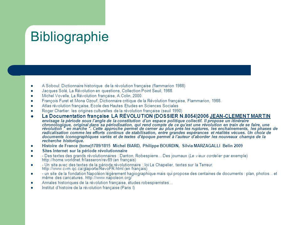 Bibliographie A Soboul: Dictionnaire historique de la révolution française (flammarion 1988)