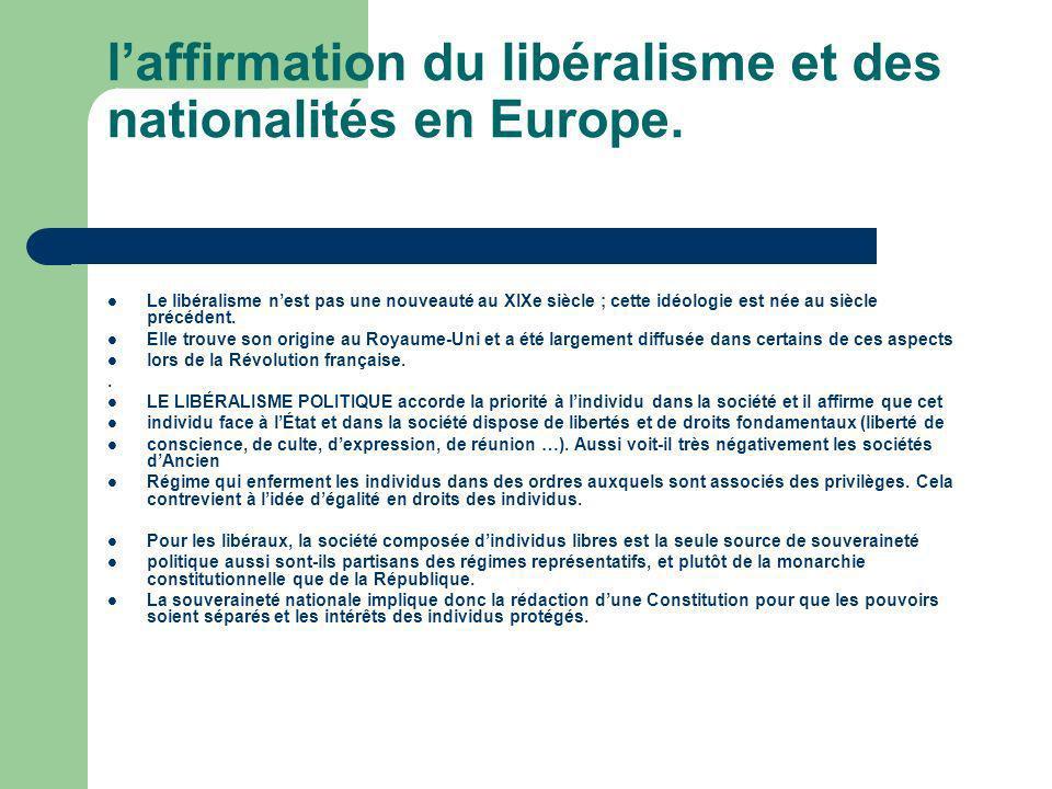 l'affirmation du libéralisme et des nationalités en Europe.