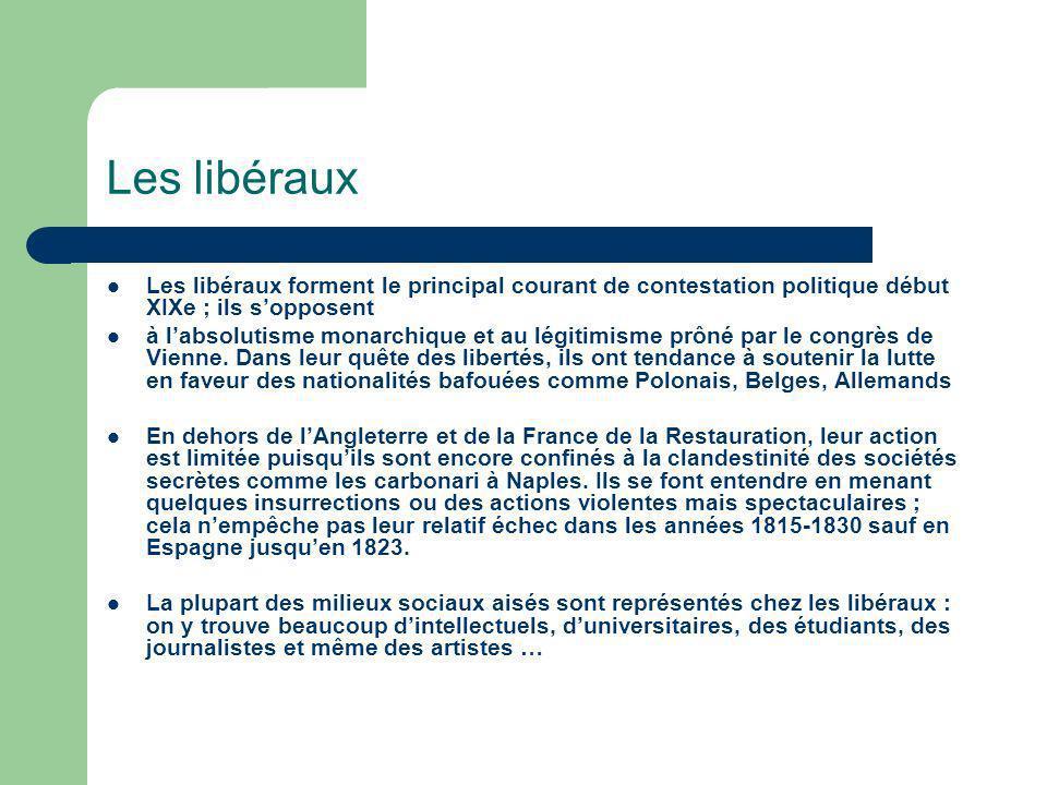 Les libéraux Les libéraux forment le principal courant de contestation politique début XIXe ; ils s'opposent.
