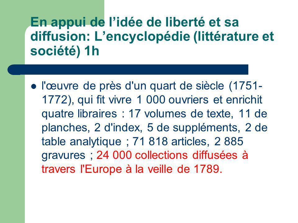 En appui de l'idée de liberté et sa diffusion: L'encyclopédie (littérature et société) 1h