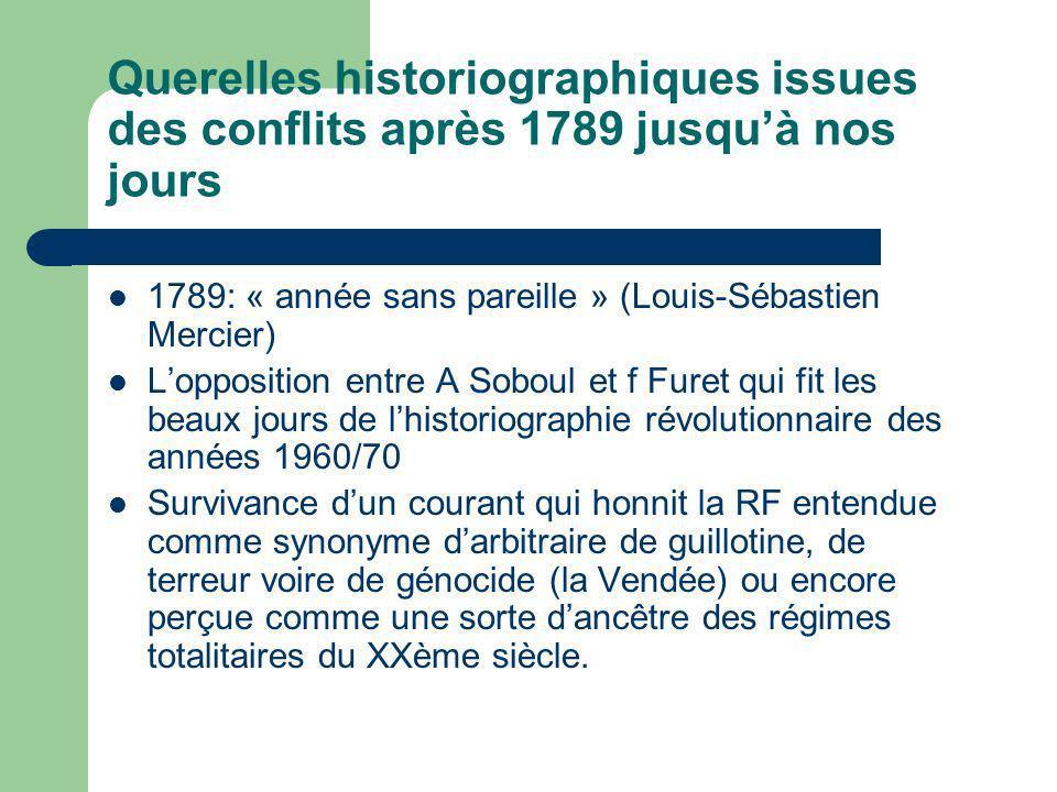 Querelles historiographiques issues des conflits après 1789 jusqu'à nos jours