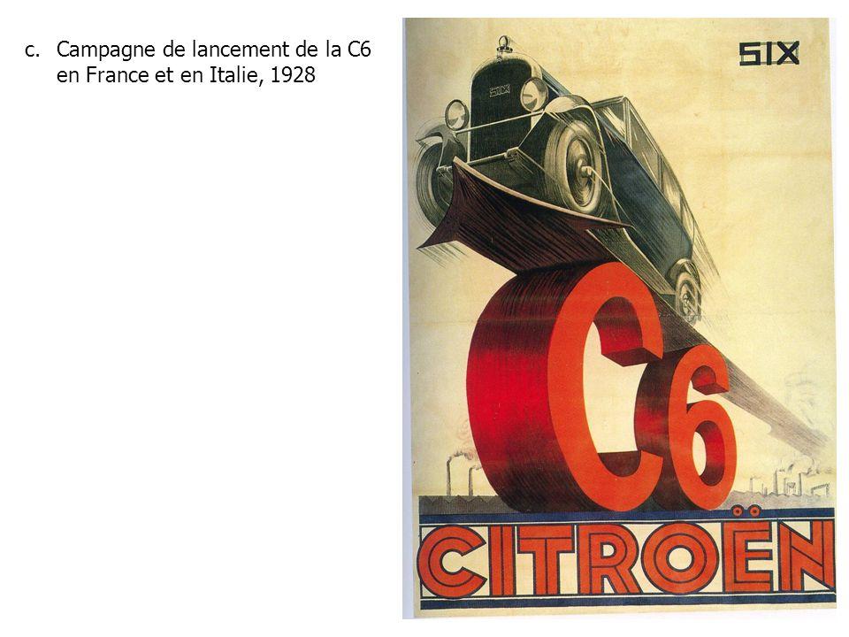 Campagne de lancement de la C6 en France et en Italie, 1928