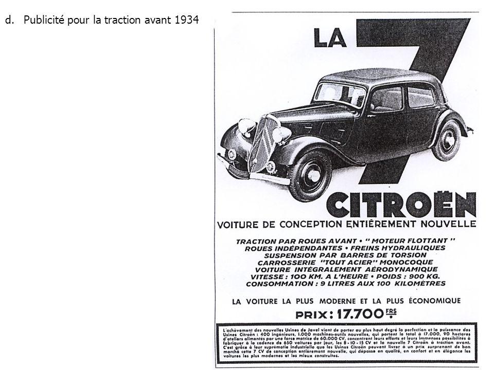 Publicité pour la traction avant 1934
