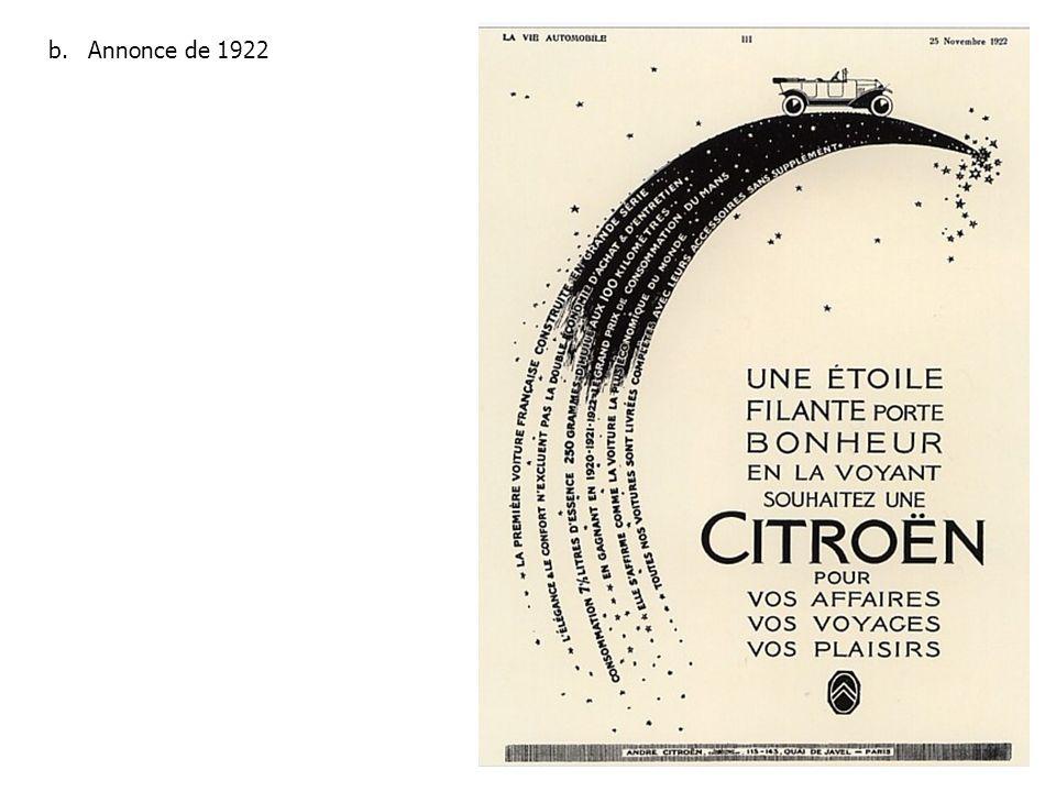 Annonce de 1922