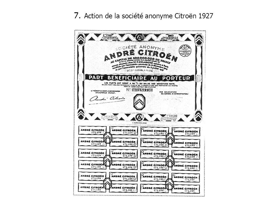 Action de la société anonyme Citroën 1927